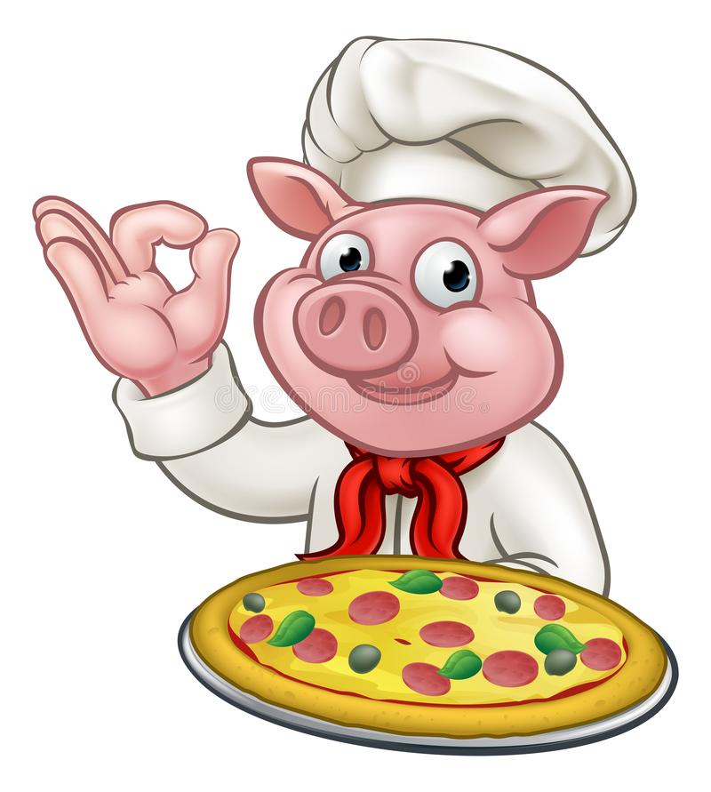 Catering clipart pizza chef. Cartoon pig character mascot png black and white library