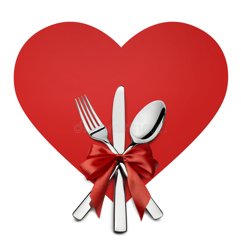Valentine on red heart. Catering clipart silverware banner free library