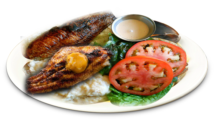 Catfish with rice png. Eli s fish and