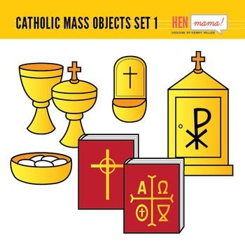 Catholic clipart catholic altar. Mass objects set religious