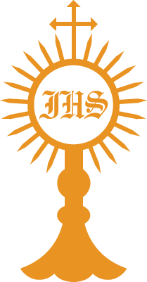 Monstrance drawing host. Collection of free blessed