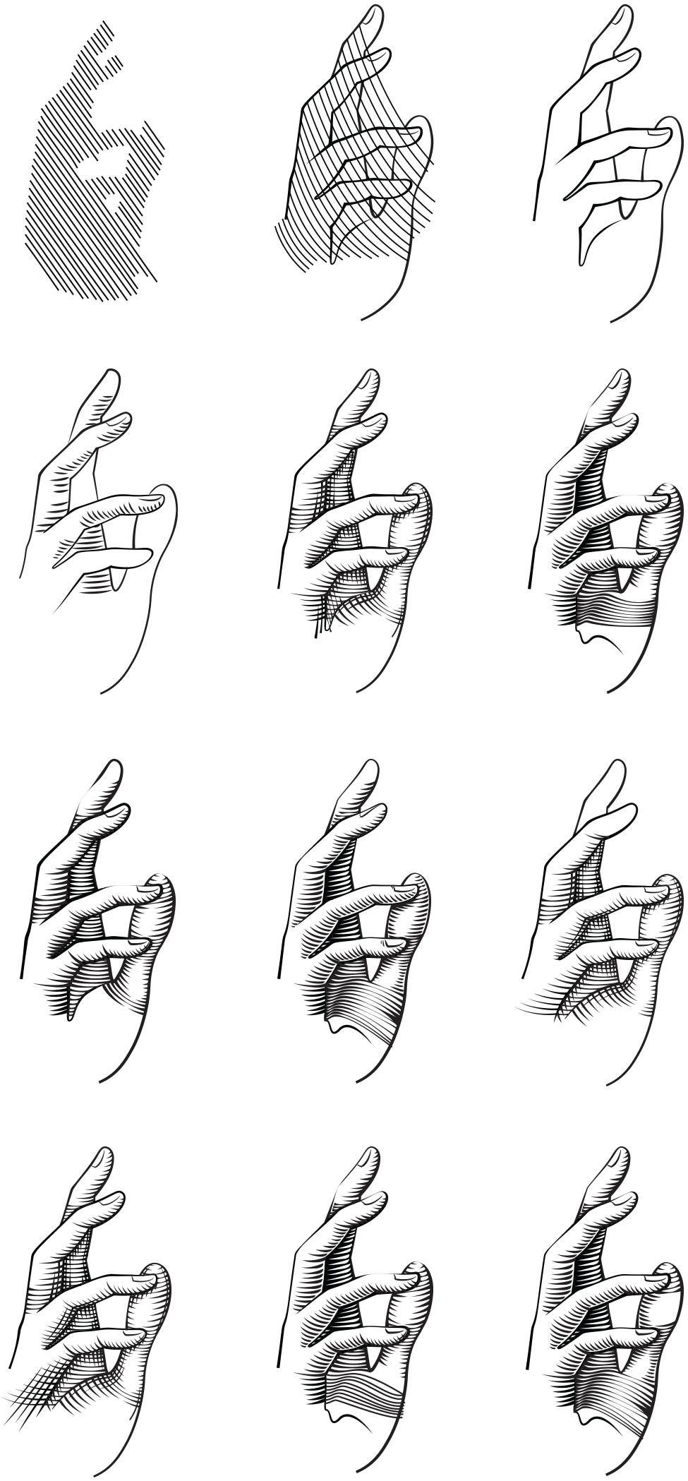 Drawing scrolls hand. Pinterest icons
