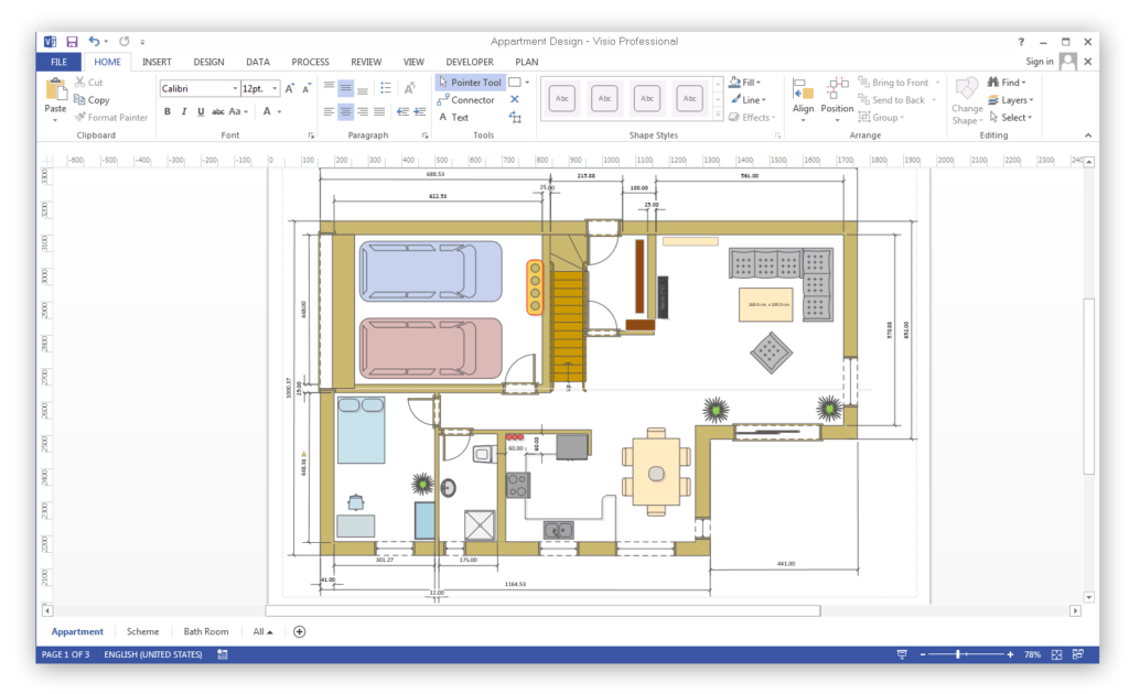 Vision drawing room. Visio for mac comparison