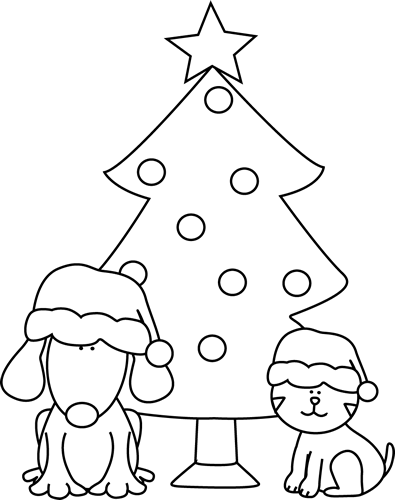 Cats clipart tree. Black and white christmas