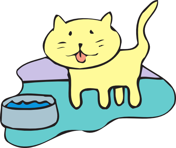 Cats clipart water. Cat and bowl clip
