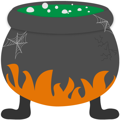 Cauldron vector woodcut. Witches clipart