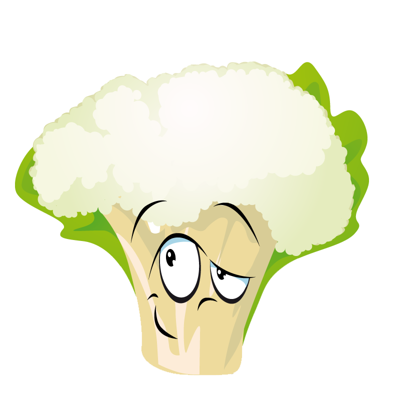 Cauliflower drawing kid. Cartoon vegetable transprent png