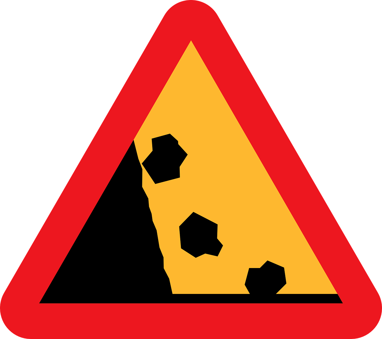 Caution vector. Loose rocks falling sign