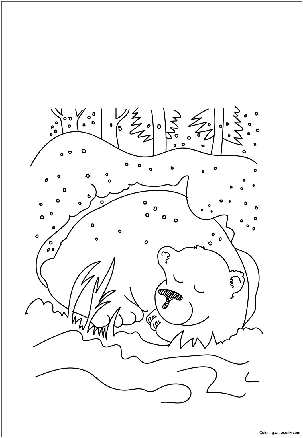 Amazing hibernation pages bear. Cave clipart coloring page png black and white stock