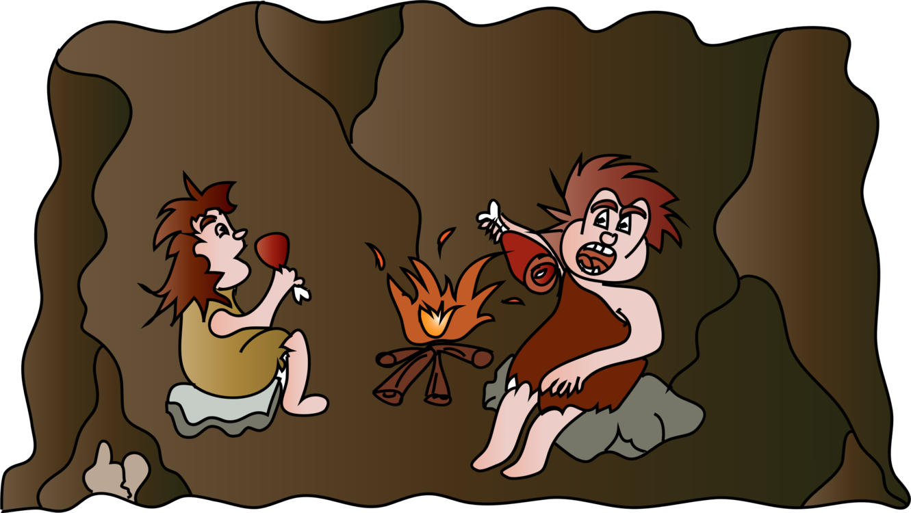 Cave clipart stone age cave. Eating cartoon drawing free