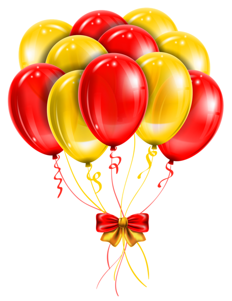 Red balloons png. Transparent yellow picture clipart
