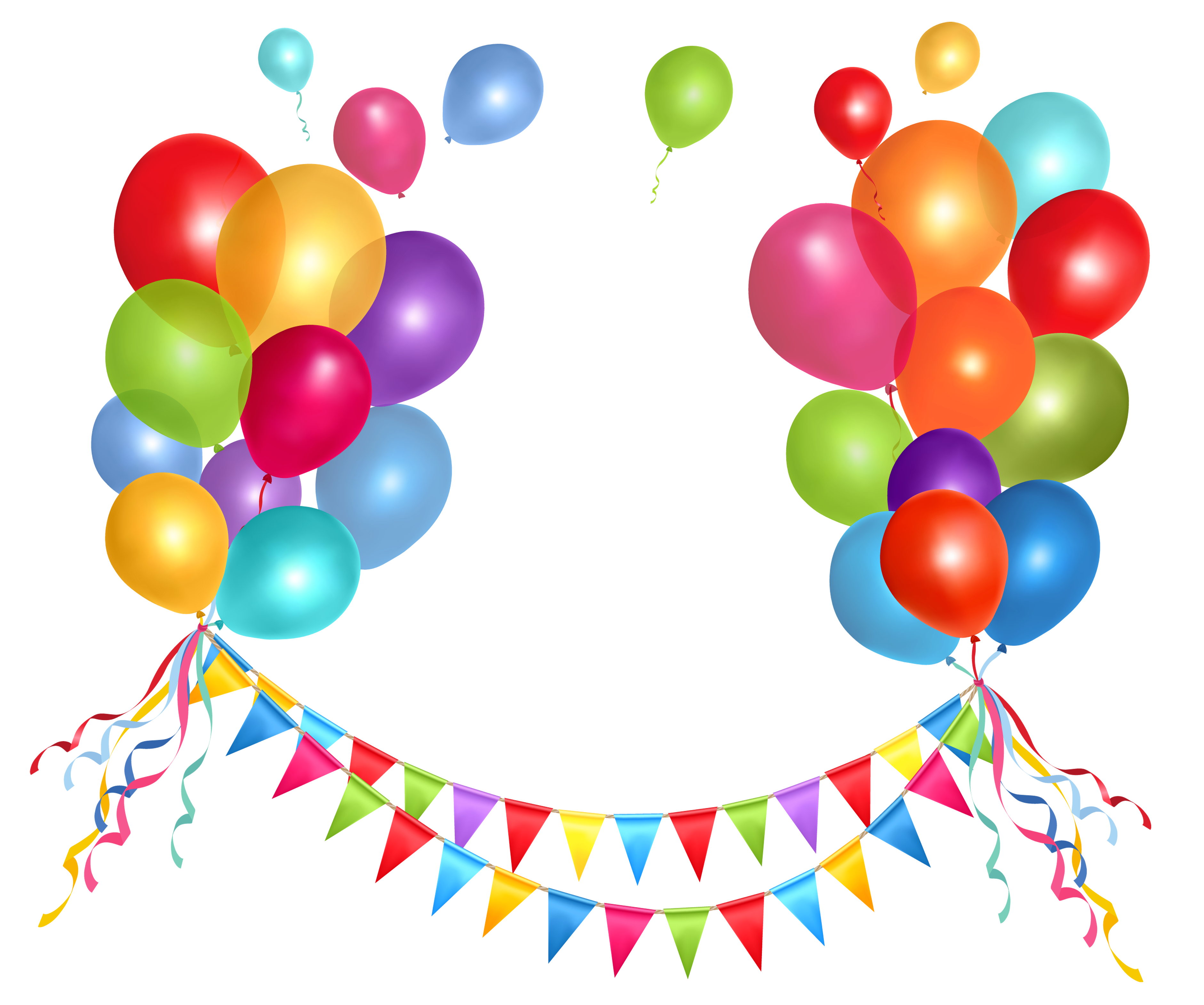 Streamers vector party clipart. Transparent streamer and balloons