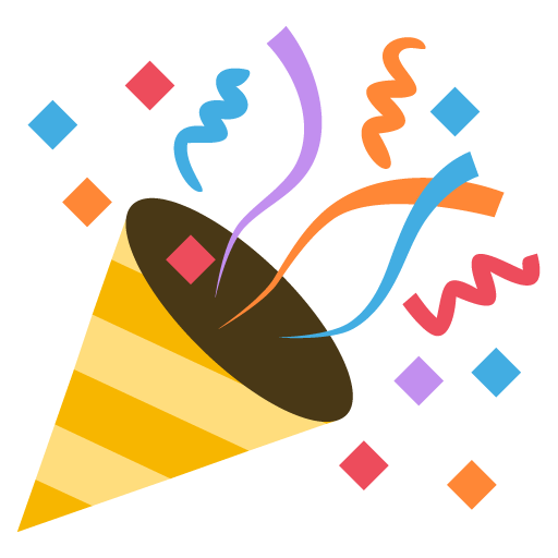 Celebration emoji png. Party popper for facebook
