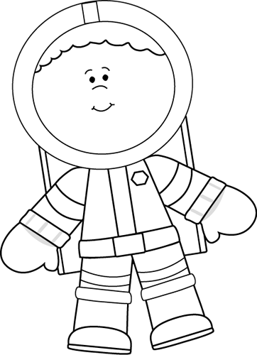 Celestial drawing astronaut. Black and white little