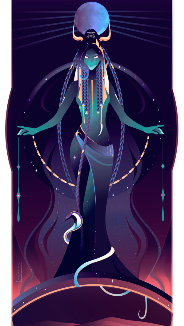 Celestial drawing goddess. Nut egyptian gods by