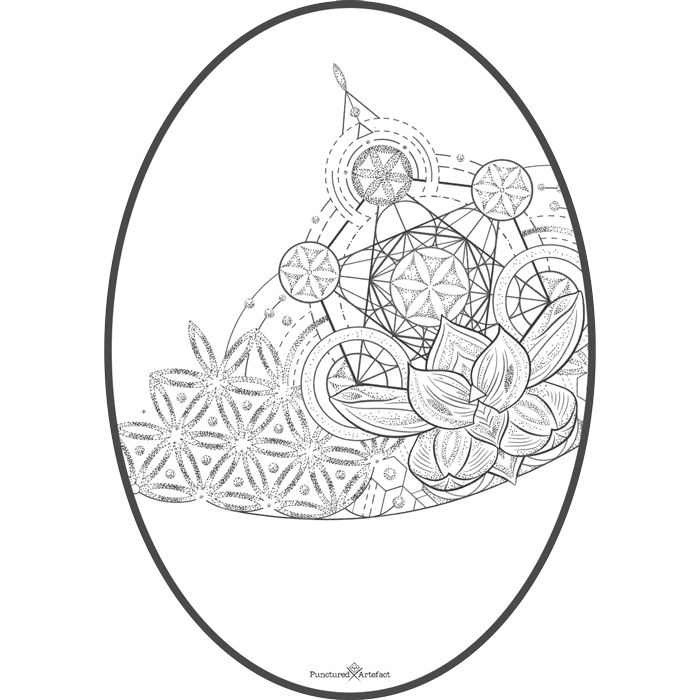 Celestial drawing pattern. Punctured artefact flash tattoo