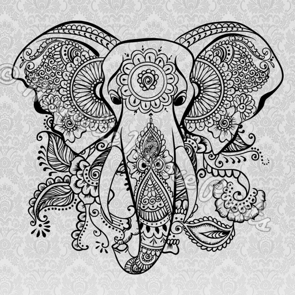 elephants svg paisley