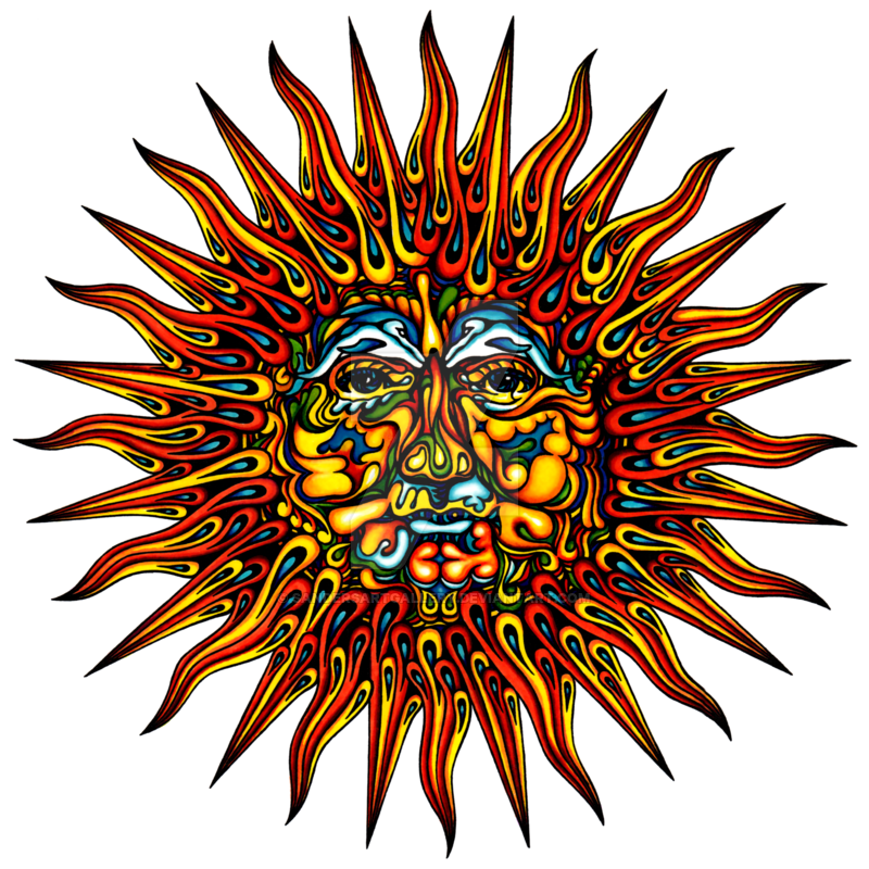 Timer drawing trippy. Psychedelic sun by sandersartgallery