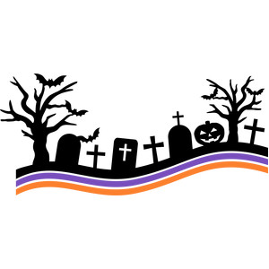 Cemetery clipart churchyard. Graveyard silhouette at getdrawings