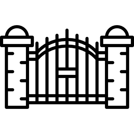 Cemetery clipart scary. Gate vector stock
