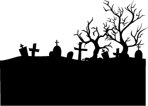 Cemetery vector graveyard. Silhouette of