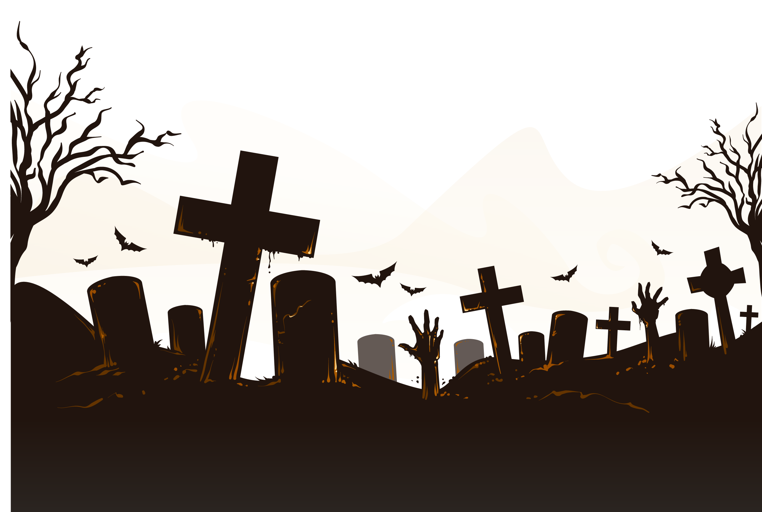 Cemetery vector halloween. Icon horror bats decorate
