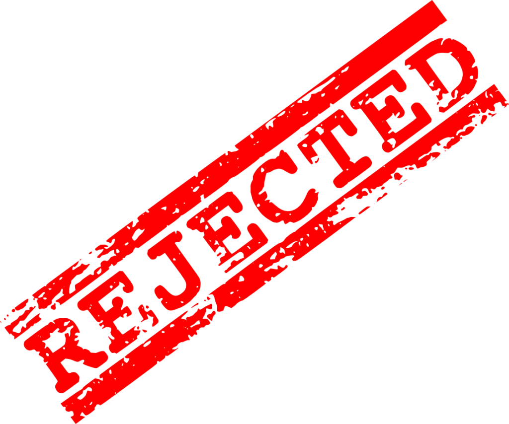 Vector rejection. Red rejected stamp