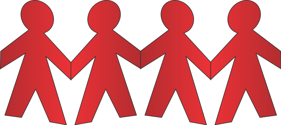 People linking arms png. Paper clipart file tag