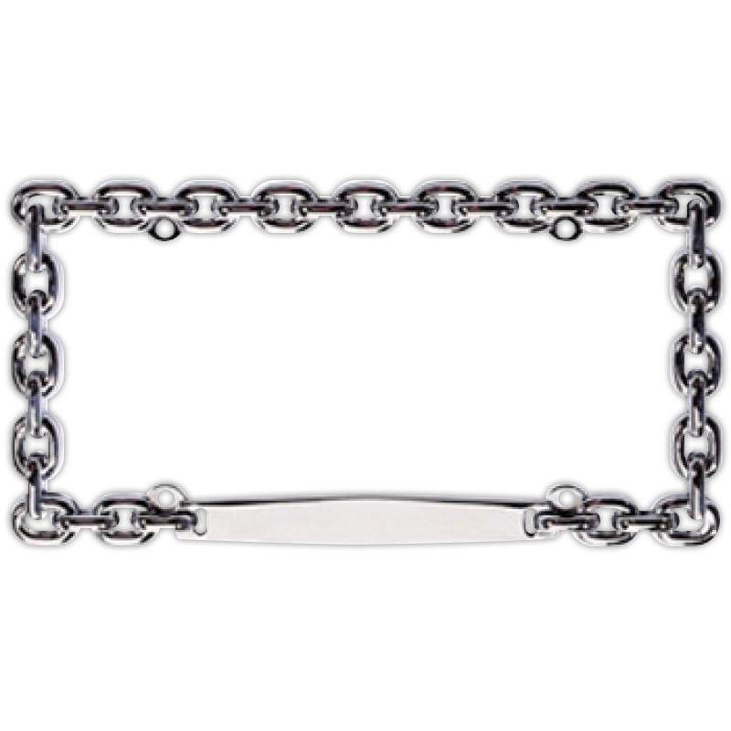 Chain frame png. Chrome link license plate
