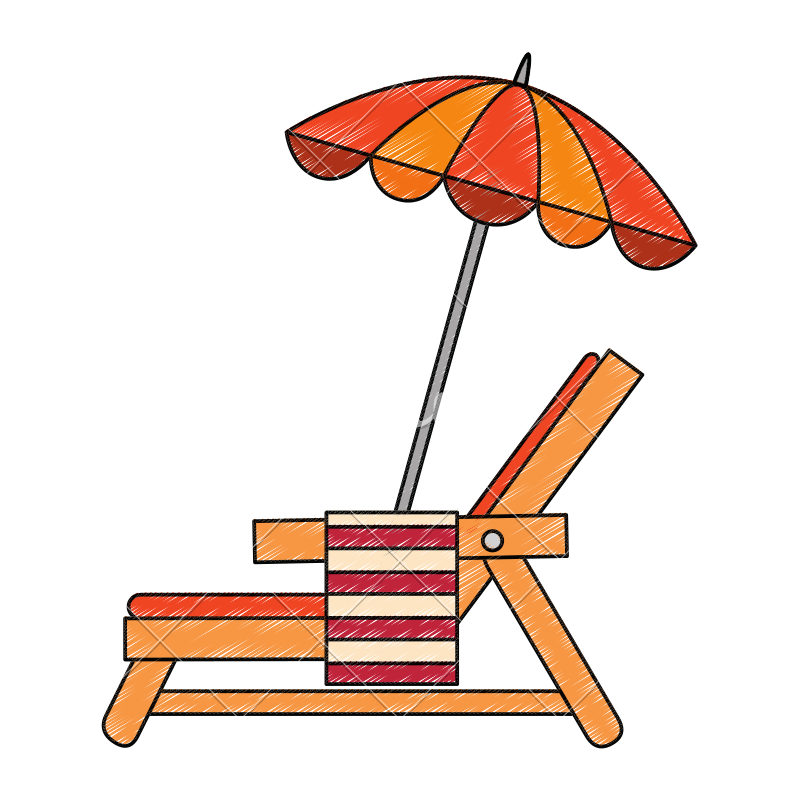Chair clip beach towel. With and umbrella icons