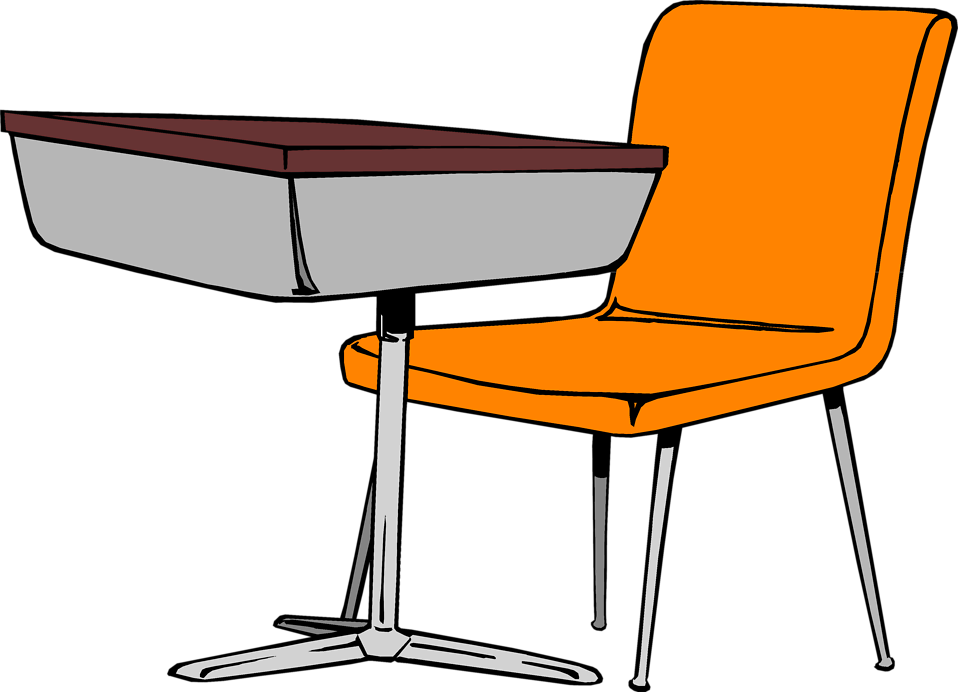 Drawing chairs classroom. Desk image black