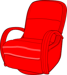 Chair clip recliner. Lounge red art at