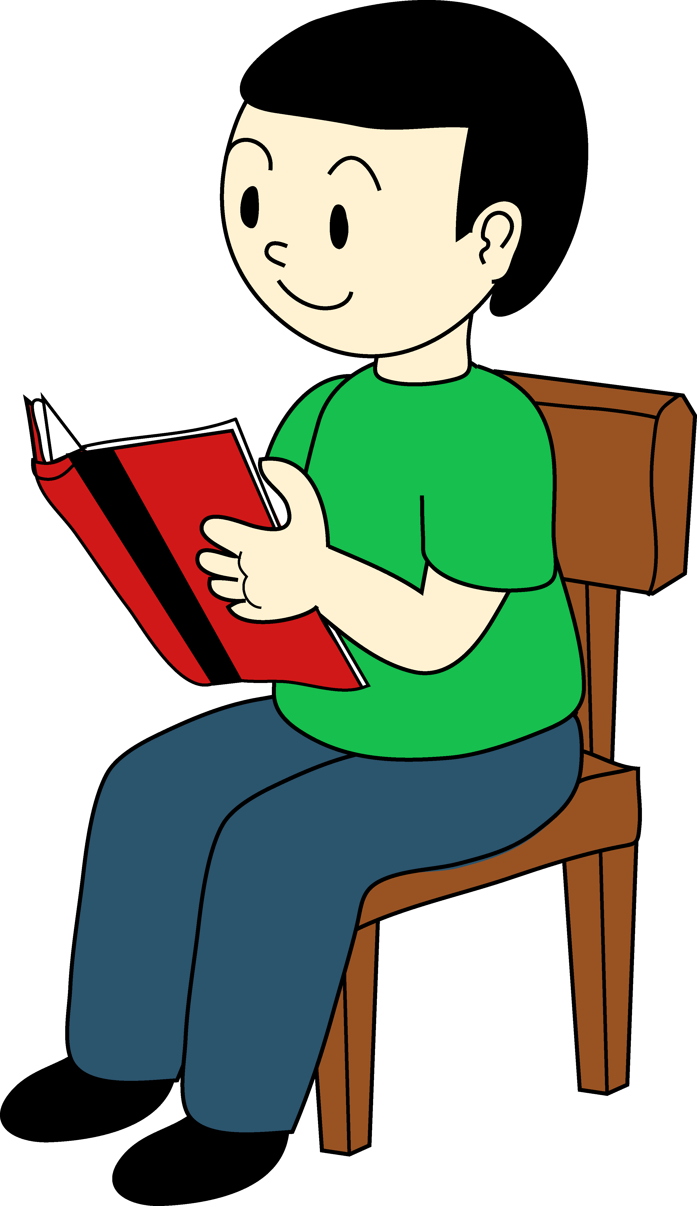 Chair clipart book. Boy sitting on a