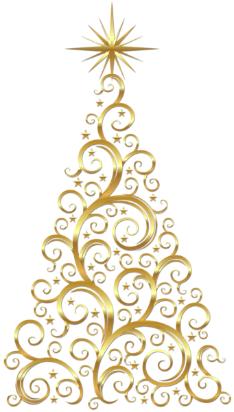 Transparent Gold Deco Christmas Tree Clipart