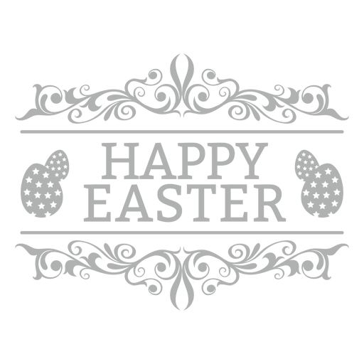 White chalk ornaments png. Happy easter badge transparent