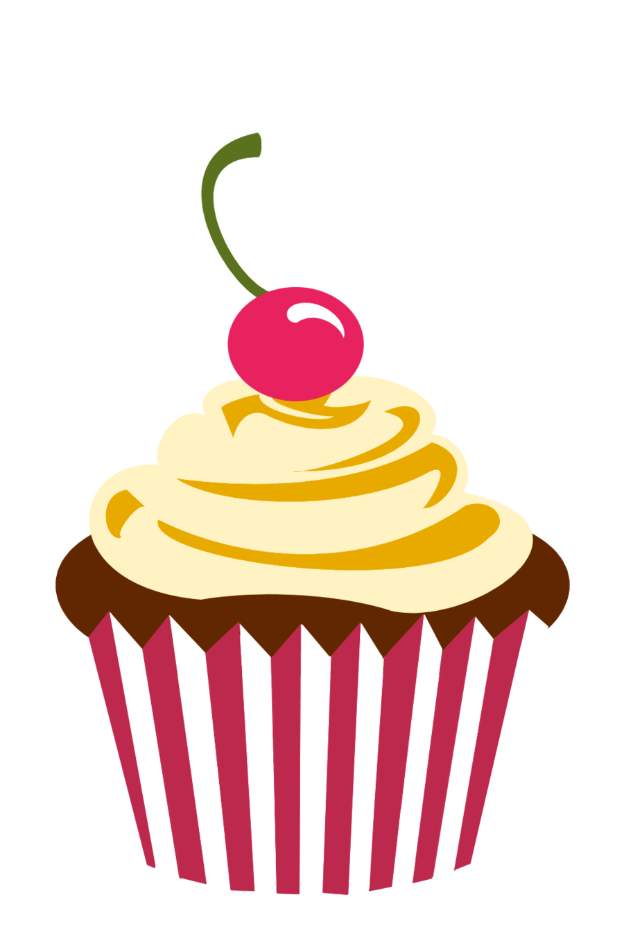 Vector cupcakes cherry top. Cupcake logo png chocolate