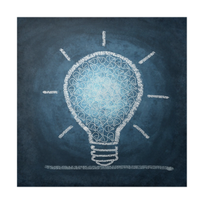 Chalk drawing light bulb png. By poster pixers we