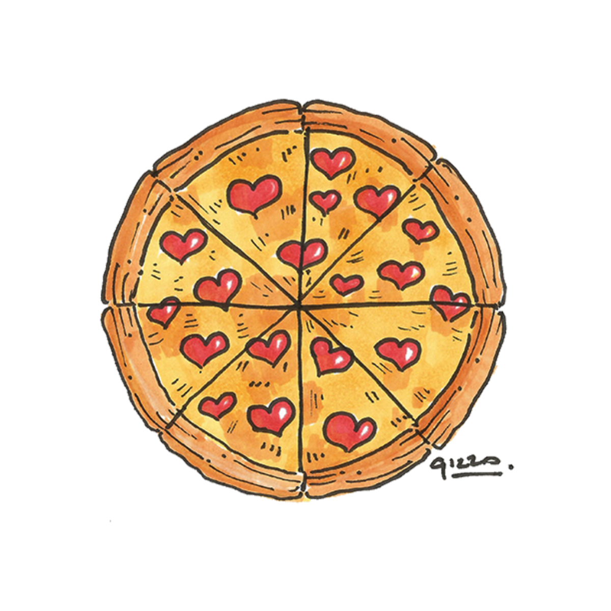 Chalk pizza png. Love illustration for valentine