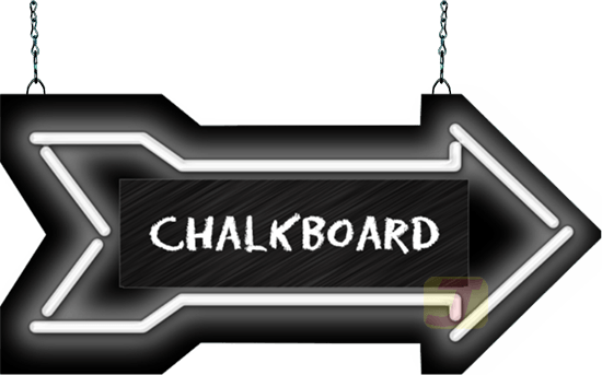 Chalkboard arrow png. With center neon sign