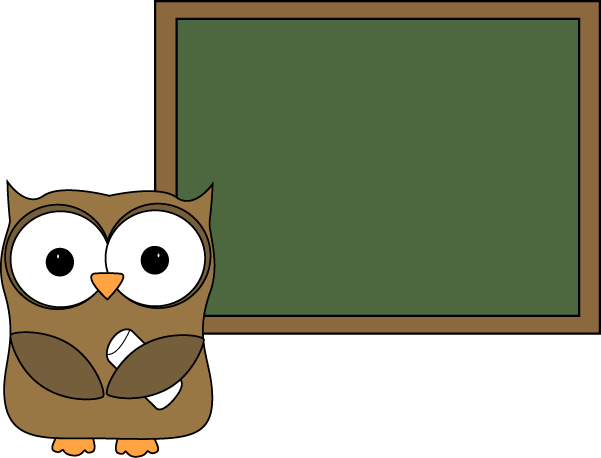 Chalkboard clip blank. Owl and art image