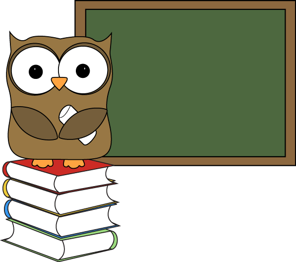 Chalkboard clip blank. Owl with books and
