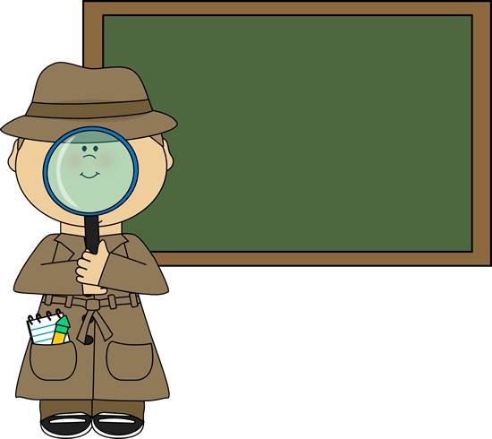 Chalkboard clip blank page. Boy detective and art