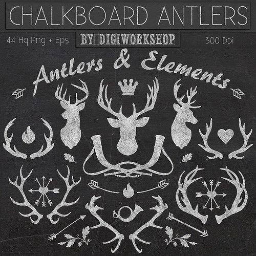 Chalkboard clipart deer. Best of antlers and