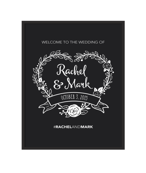 Chalkboard heart png. Wedding sign typescratch design