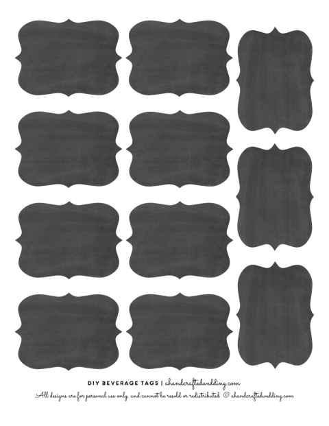 Chalkboard shapes png. Diy drink tags free