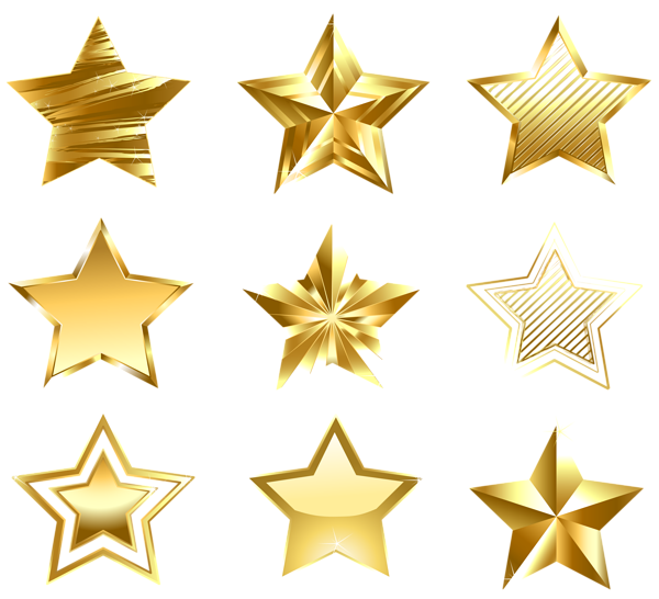 Gold stars png. Transparent golden set decorative