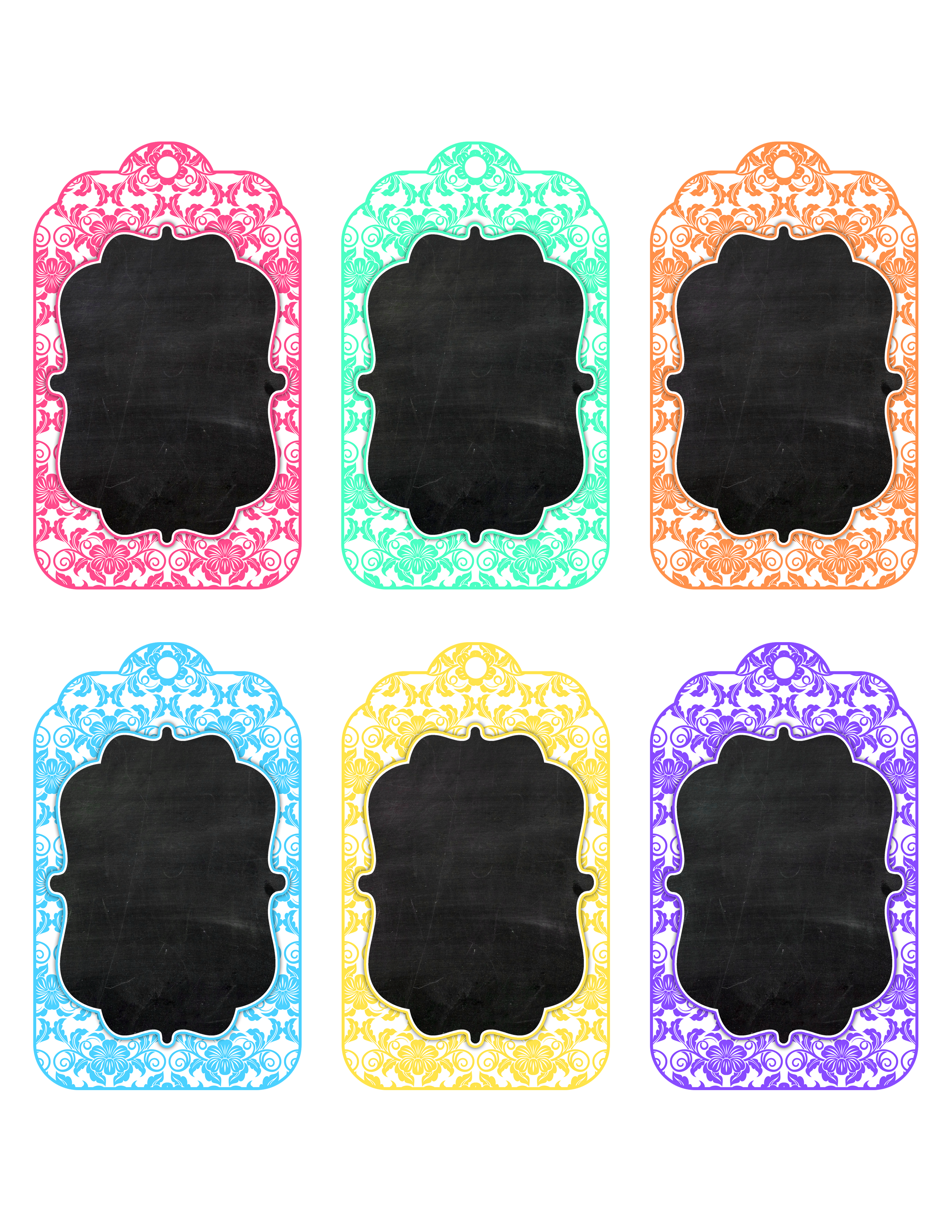Chalkboard clip blank. Free printable toile tags