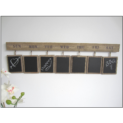 Chalkboard transparent wooden. Hanging daily chalk board