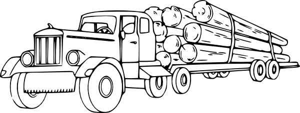 Challenger drawing coloring page. Log truck pages paintbrush