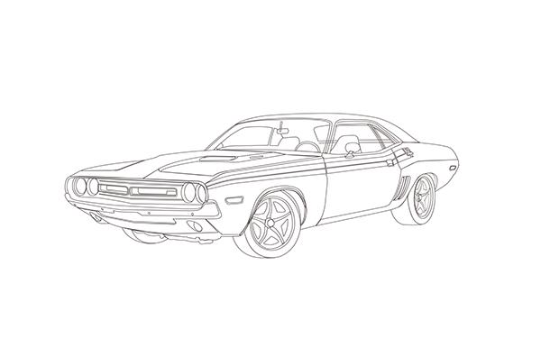 Challenger drawing dodge. On behance personal illustration